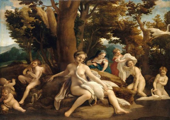 Correggio, Antonio Allegri da: Leda and the Swan. Greek and Roman Mythology. Fine Art Print/Poster. Sizes: A4/A3/A2/A1 (001970)